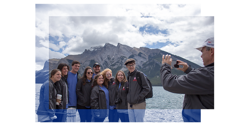 Group photo in Rocky Mountains on study abroad