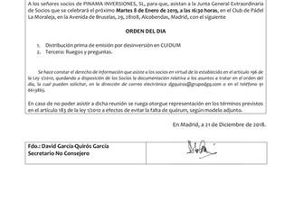 JUNTA GENRAL EXTRAORDINARIA DE PINAMA INVERSIONES, S.L.