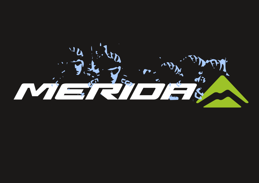 MErida Logo with blue CMI riders cartoon