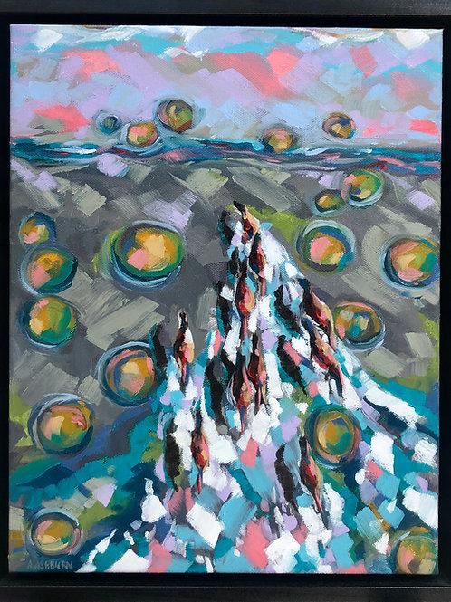 """Bird's Eye View"" 2017 11""x14"" Oil on canvas framed"