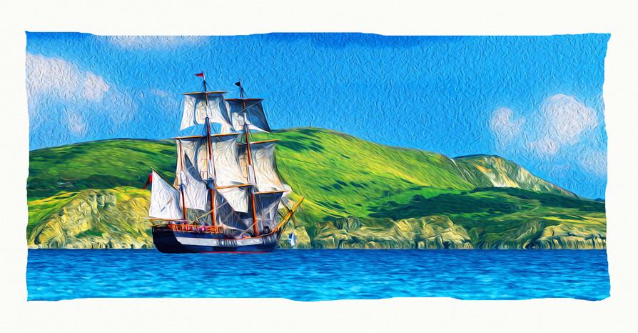 TS Earl of Pembroke passes Lulworth Cove