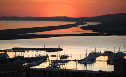 Portland Marina and the Fleet at sunset