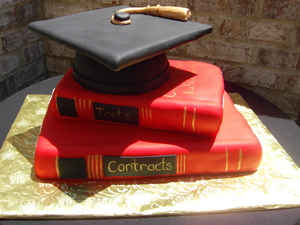 Graduation Cap and Law Books Cake GR-101