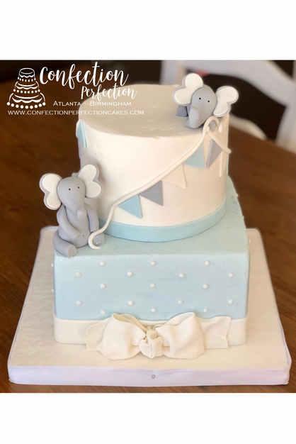 2 Tier Baby Elephant Theme Cake with Bun