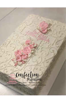 Cross with Roses & Scrolls Sheet Cake BA-106