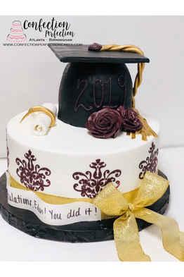 2 Tier Damask Graduation Cake GR-123