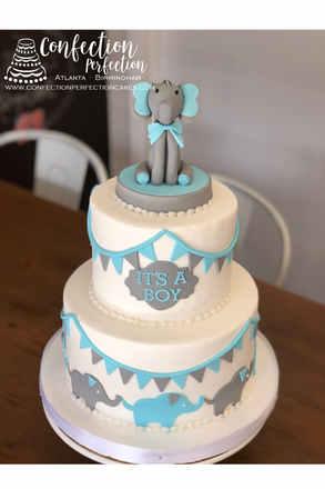2 Tier Baby Elephant Theme Cake with Fon