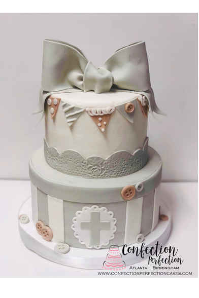 Baptism, First Communion or Christening 2 Tier with Bow and Bunting BA-108