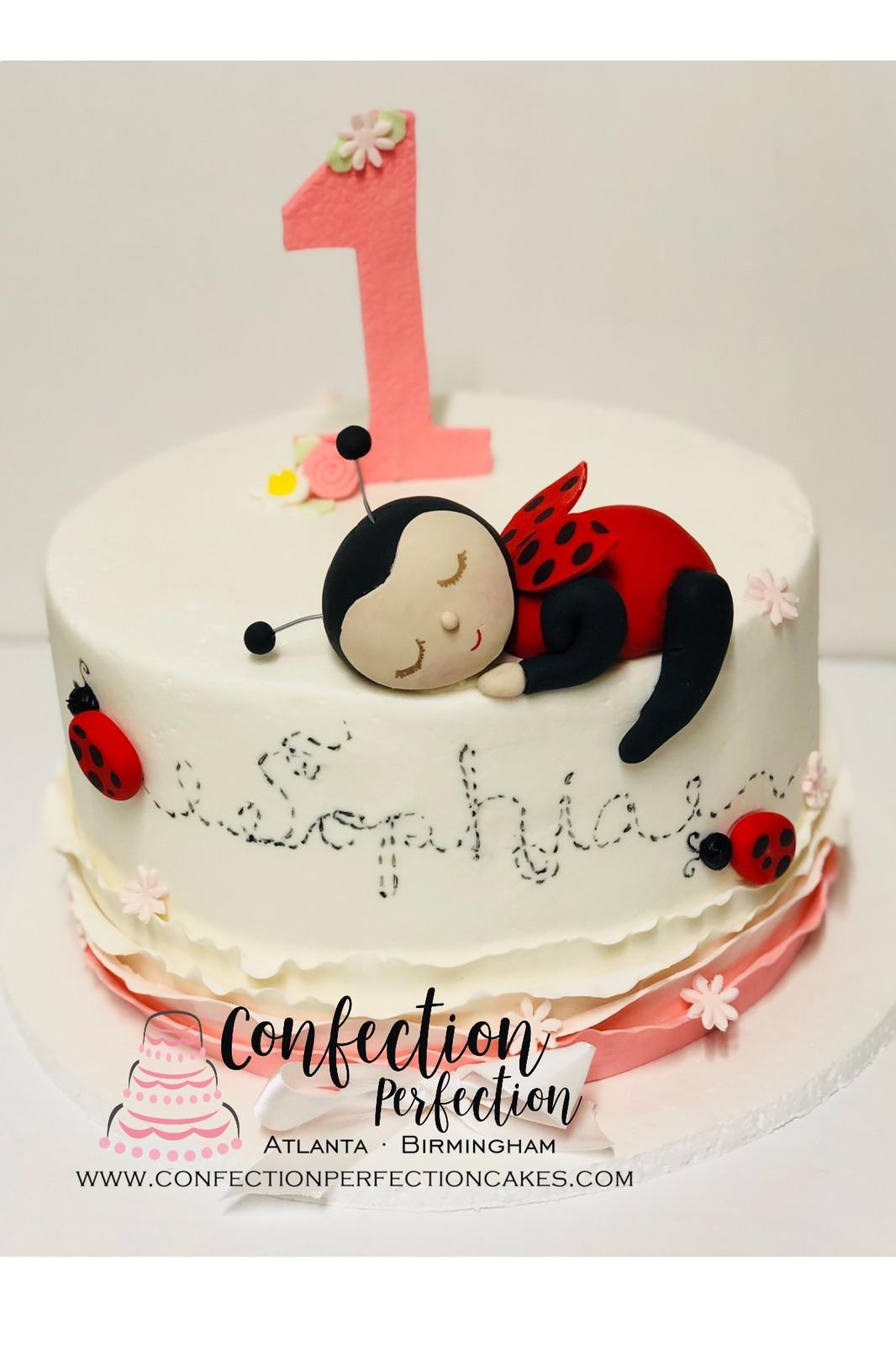 Sleeping Ladybug First Birthday Cake BC 130