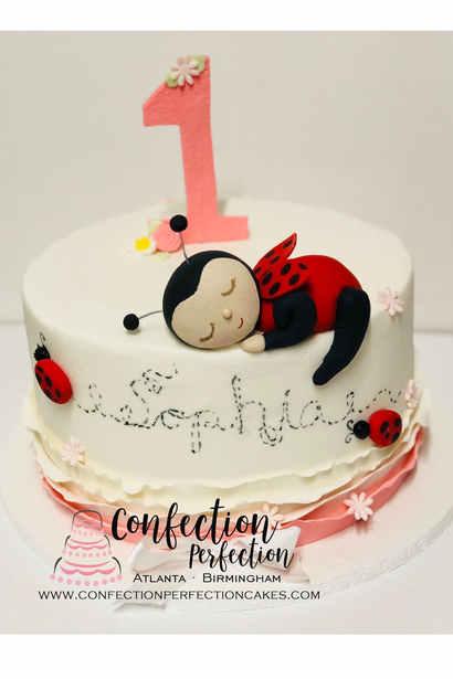 Sleeping Ladybug First Birthday Cake BC-130