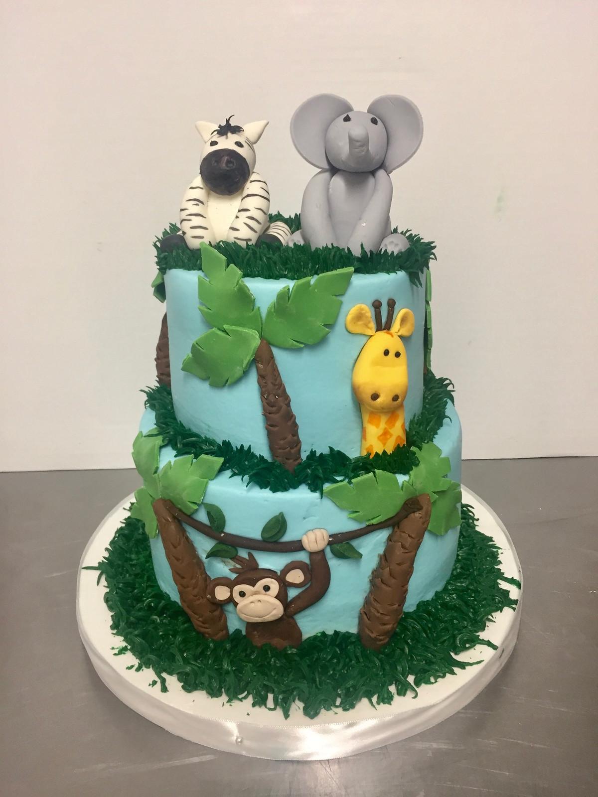 Zoo Jungle Theme Birthday Cake Bc 128 Custom Cakes Wedding Cakes