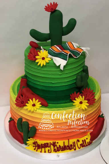 Cinco de Mayo Mexican Ombré Cake with Cactus & Red Peppers HOL-123