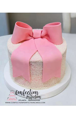 Nonpareil Sprinkle Covered Cake with Fondant Bow CBG-210