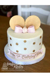 Minnie Mouse Cake with Gold Ears, Polka Dots and Pink Bow CBG-177