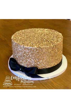 Gold Sequin with Bow Cake FB-162