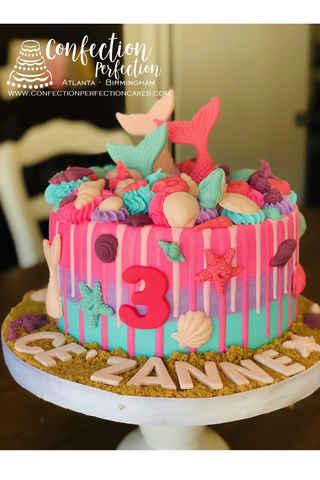 Mermaid Cake With Chocolate Ganache Seashell Explosion CBG 172