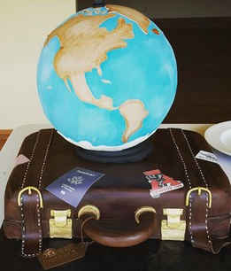 Luggage Globe Groom's Cake