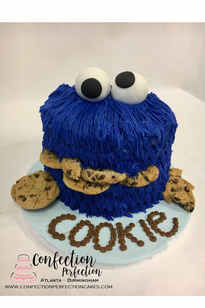 Cookie Monster Head First Birthday Cake