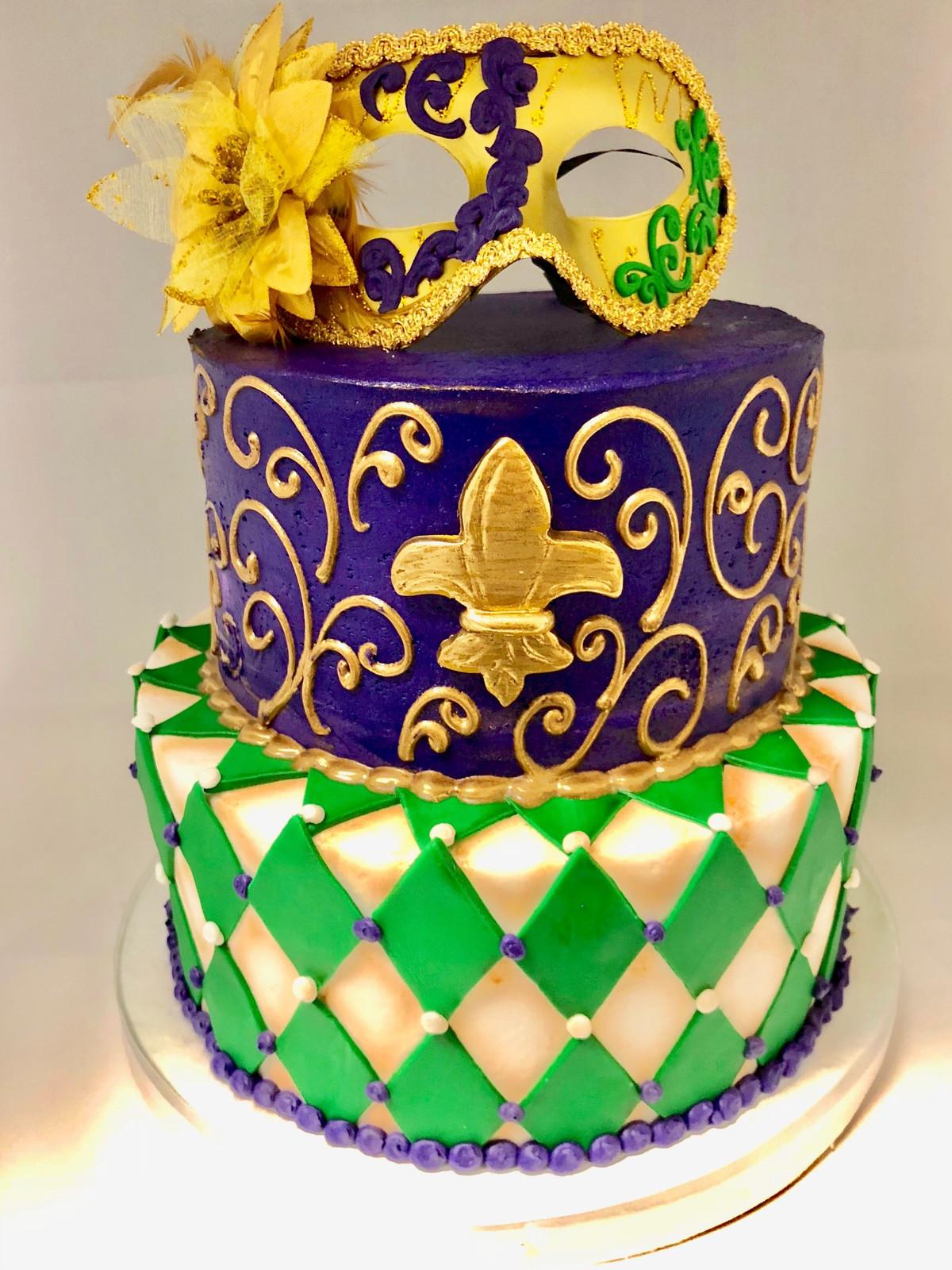Mardi Gras 2-Tier Cake HOL-112 | Custom Cakes | Wedding Cakes | Atlanta