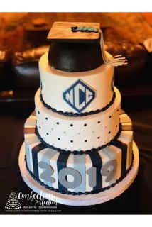 4 Tier Graduation Cake with Cap and School Logo GR-124