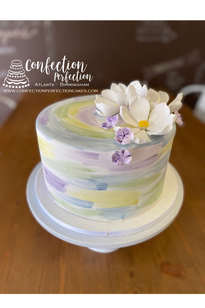 Hand Painted Watercolor Floral Cake FB-180
