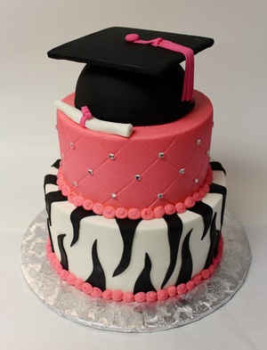 Graduation Cake with Zebra and Quilt Pattern GR-103