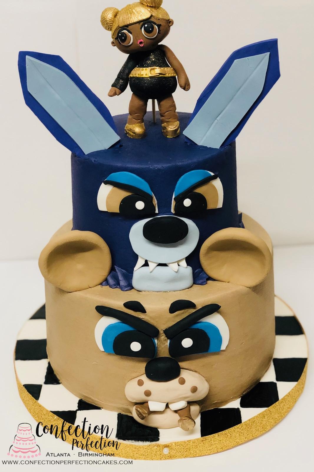 Five Nights At Freddys LOL Doll 2 Tier Cake CBG 159