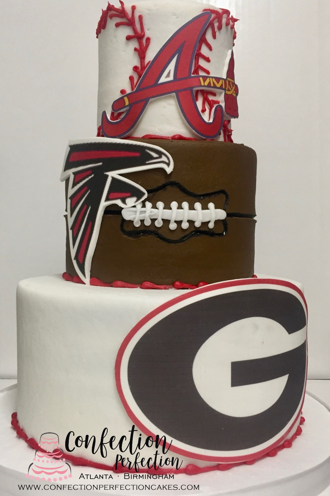 Multi Sports Team 3 Tier Cake Atlanta Braves Falcons And Georgia MB