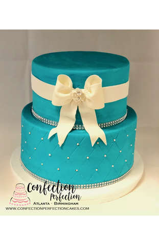 2 Tier Tiffany Blue Round Quilt with Pearl Dots and Bow FB-177