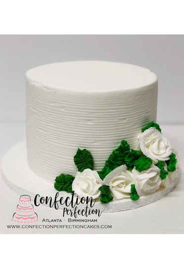 Combed Buttercream Textured Cake with Buttercream Rose Flowers FB-146