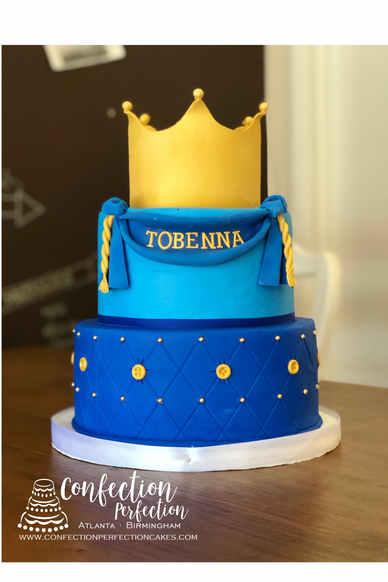 2 Tier Crown Prince/Princess Theme Cake BC-136