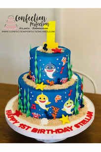 2 Tier Baby Shark First Birthday Cake BC