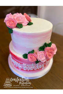 2 Tier Pink Watercolor Cake with Roses FB-178