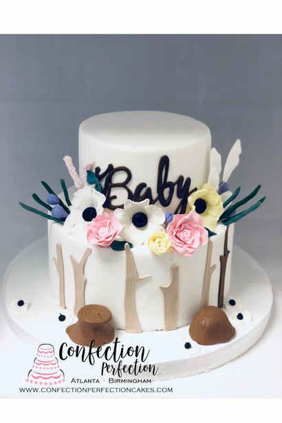 Floral Woodlands Themed Baby Shower Cake BB-121