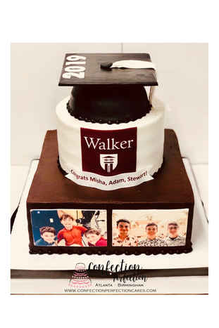 Photo Collage Graduation Cake with Cap & Tassle GR-115