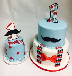 Mustache Cake with Smash Cake BC103 Custom Cakes Wedding Cakes