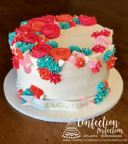 Bright Colorful Floral Rosette Round Cake FB-174