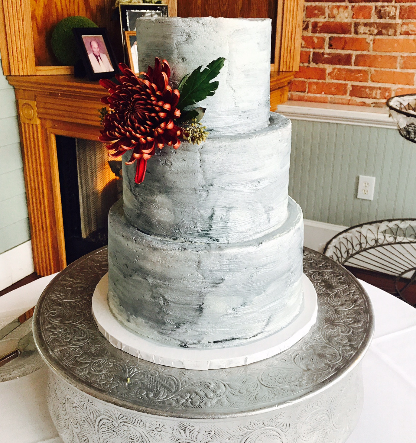 Buttercream Gray Watercolored Wedding Cake. This Wedding Cake Is Created To  Give A Watercolor Marble Look Without Having To Use Fondant!