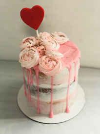 Triple Layer Valentine's Day Cake with Pink Ganache Drip HOL-110