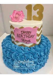 2 Tier Chevron and Rosette Cake FB-107