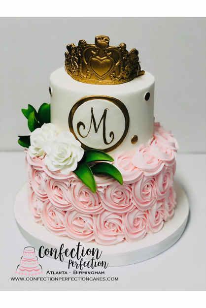 Monogram Rosette Cake with Crown CBG-193