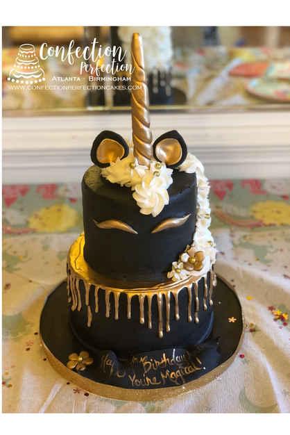 2 Tier Black & Gold Unicorn Cake CBG-188