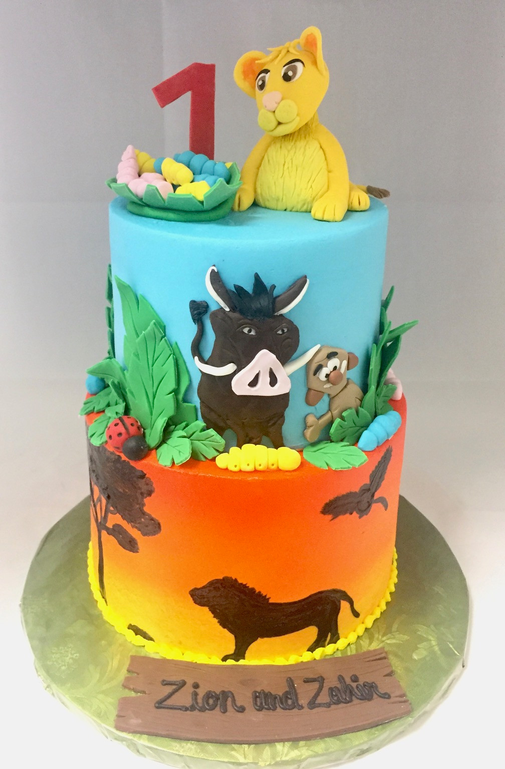 2 Tier Lion King First Birthday Cake BC,125