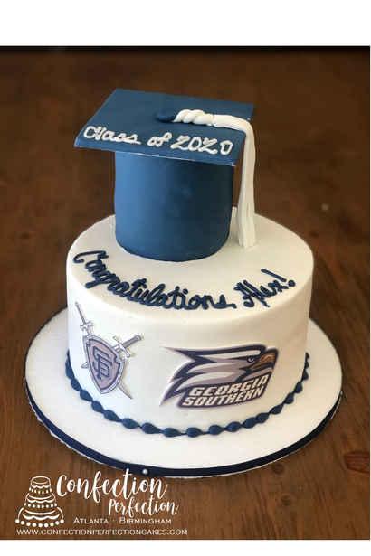 Graduation Cap Cake with Logos GR-129