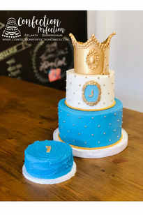 Prince or Princess 2 Tier Gold Crown First Birthday Cake BC-142