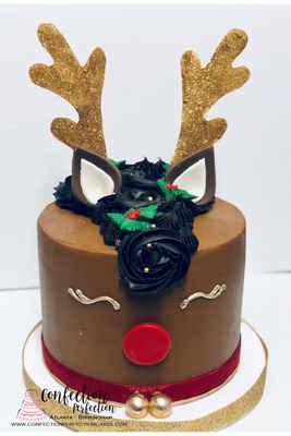 Reindeer Holiday Cake HOL 119