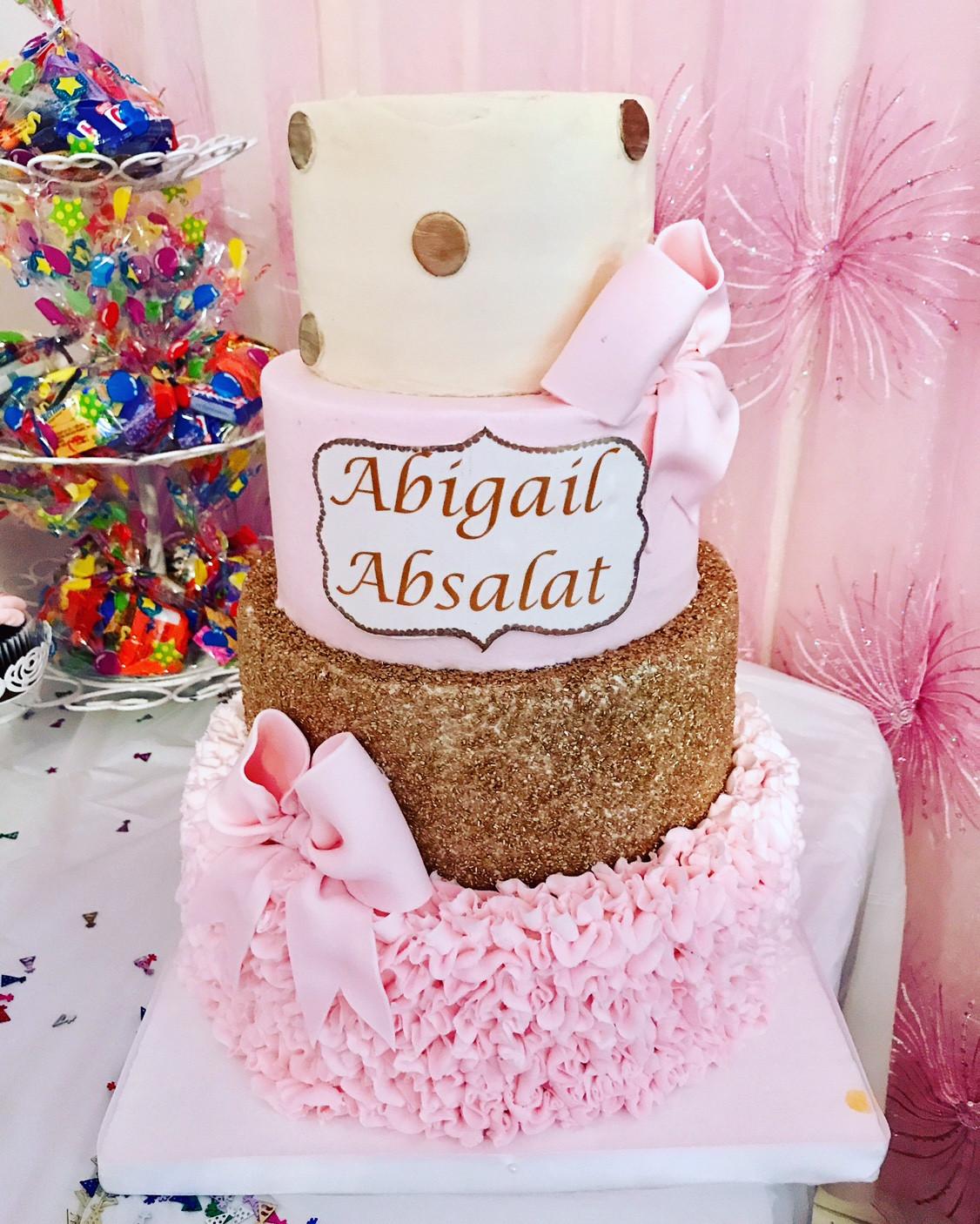 Gold Dots Pink Ruffle And Glitter Birthday Cake Cbg 141