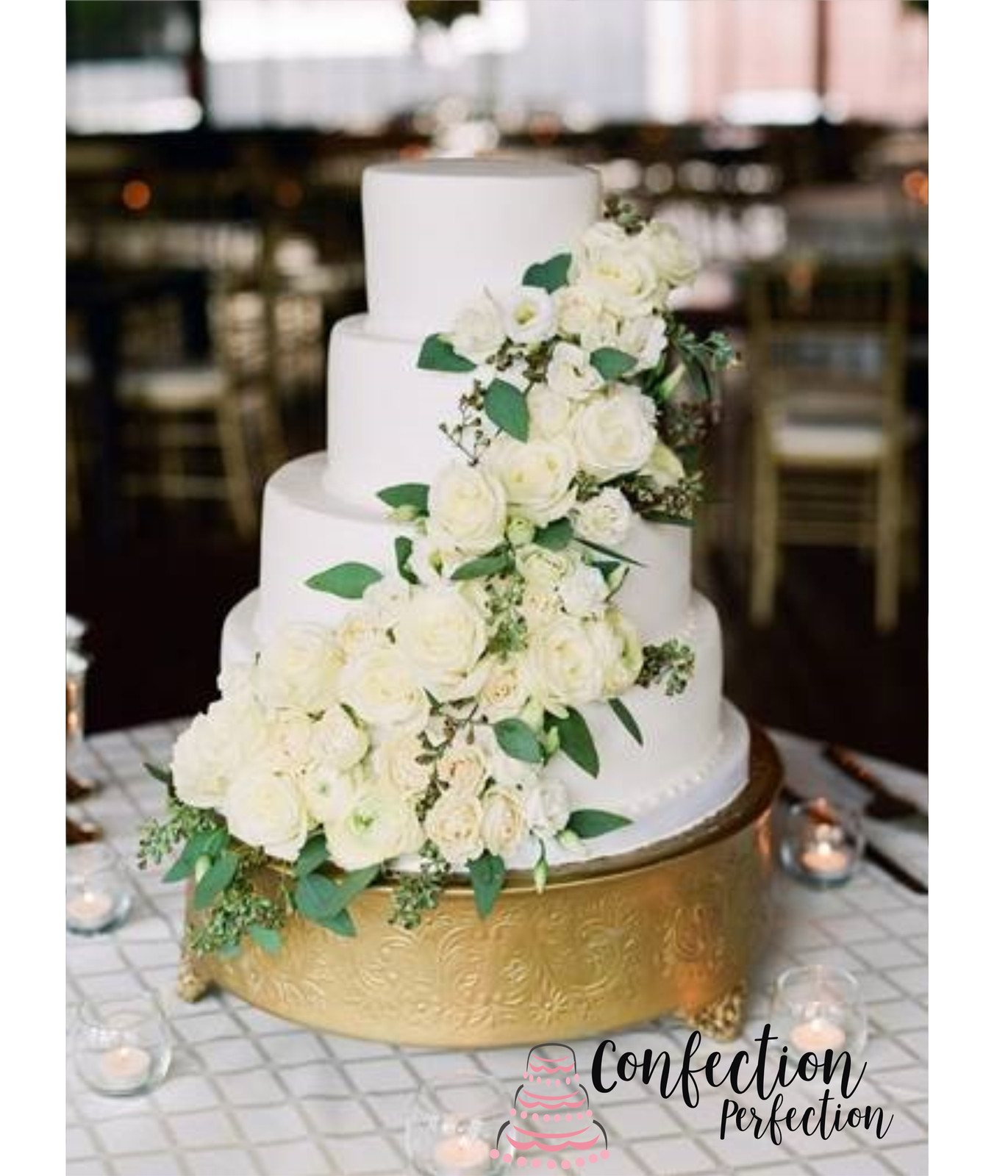 Smooth Iced Wedding Cake With Fresh Floral Cascade Classic