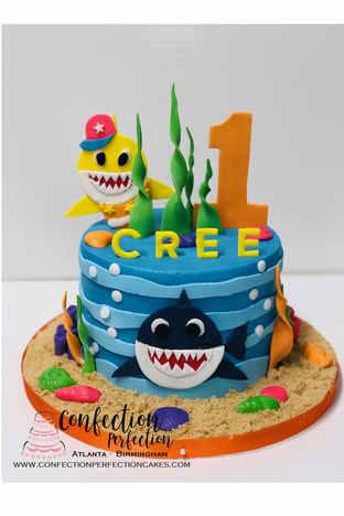 Baby Shark Ocean Fun Themed Round Cake BC-133
