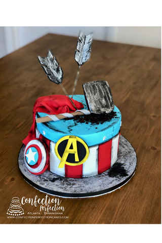 Avengers Endgame Cake With Captain America Thor And Hawkeye CBB 157